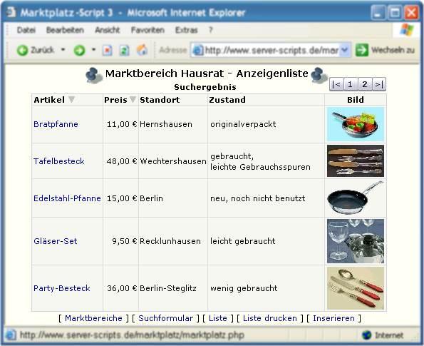 Marktplatz-Script - Inserate-Liste