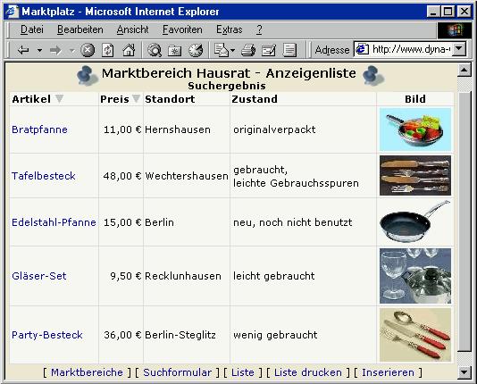 Screenshot vom Programm: Marktplatz-Script